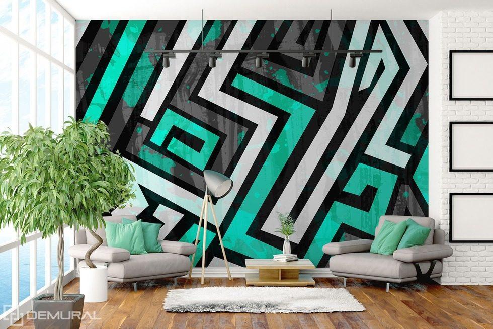 The geometric zigzag Graffiti wallpaper mural Photo wallpapers