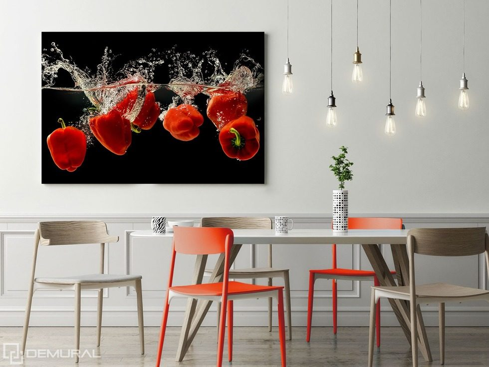 the pepper red dance canvas prints in dining room