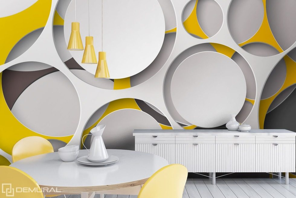 The round cut-outs in the light tones Abstraction wallpaper mural Photo wallpapers Demural