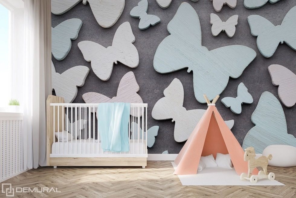 With the butterfly wing child 39 s room wallpaper mural for Butterfly mural wallpaper