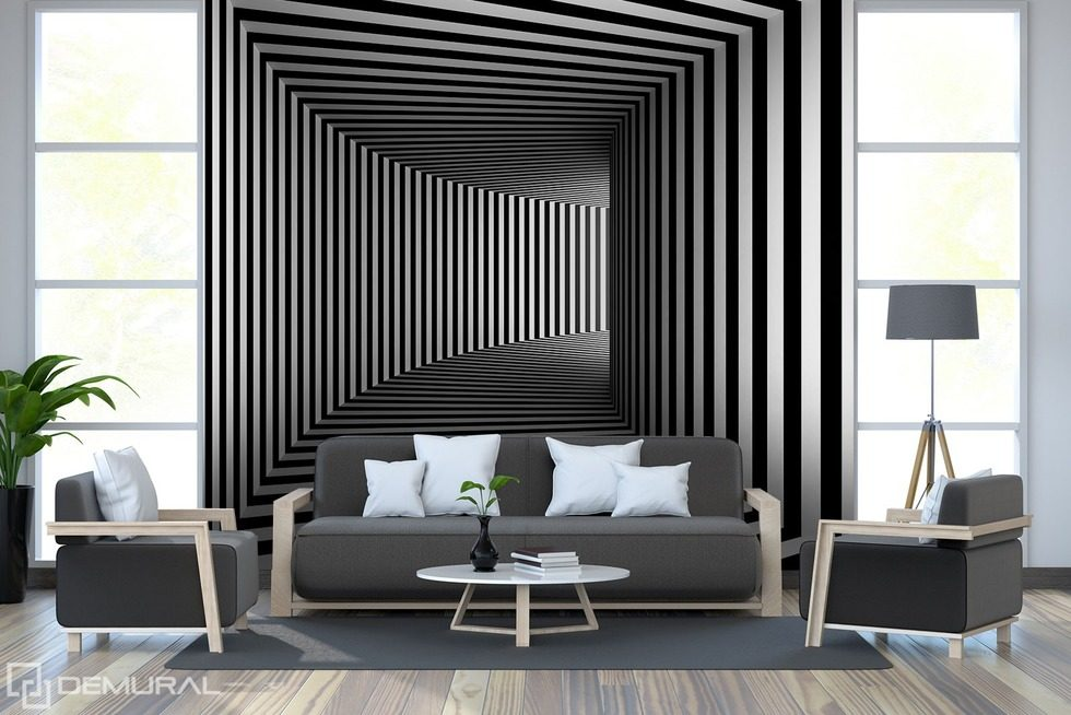 Black and white raptures of illusion Black and white wallpaper, mural Photo wallpapers Demural