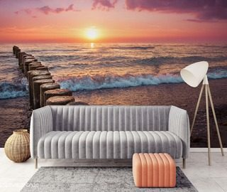 the sun beach sound of the sea sunsets wallpaper mural photo wallpapers demural