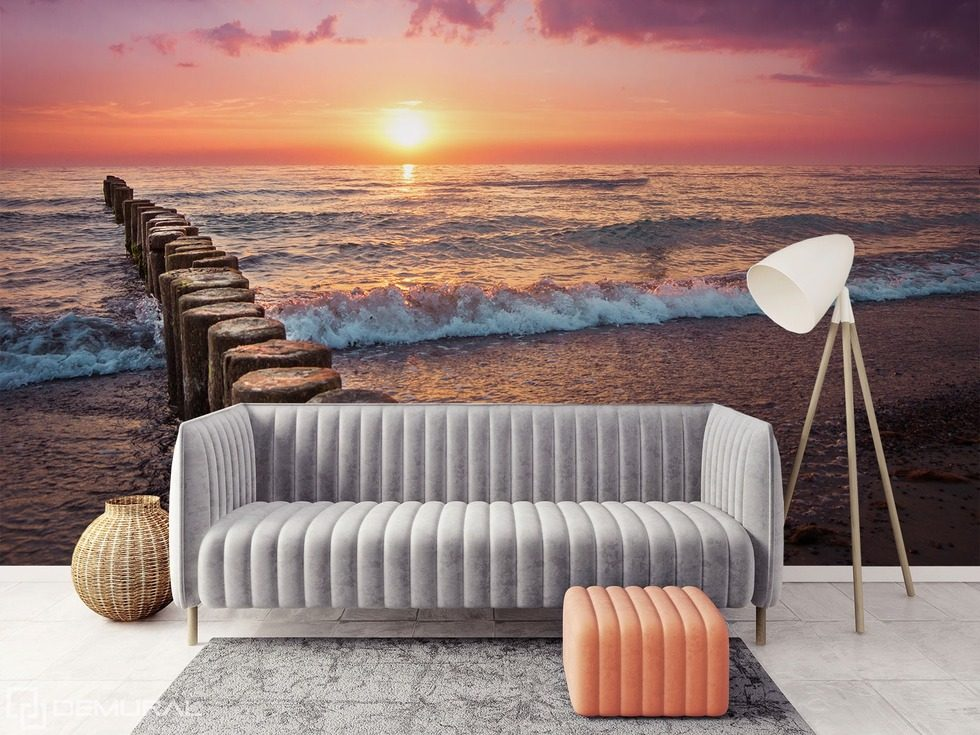 The sun, beach, sound of the sea Sunsets wallpaper mural Photo wallpapers Demural