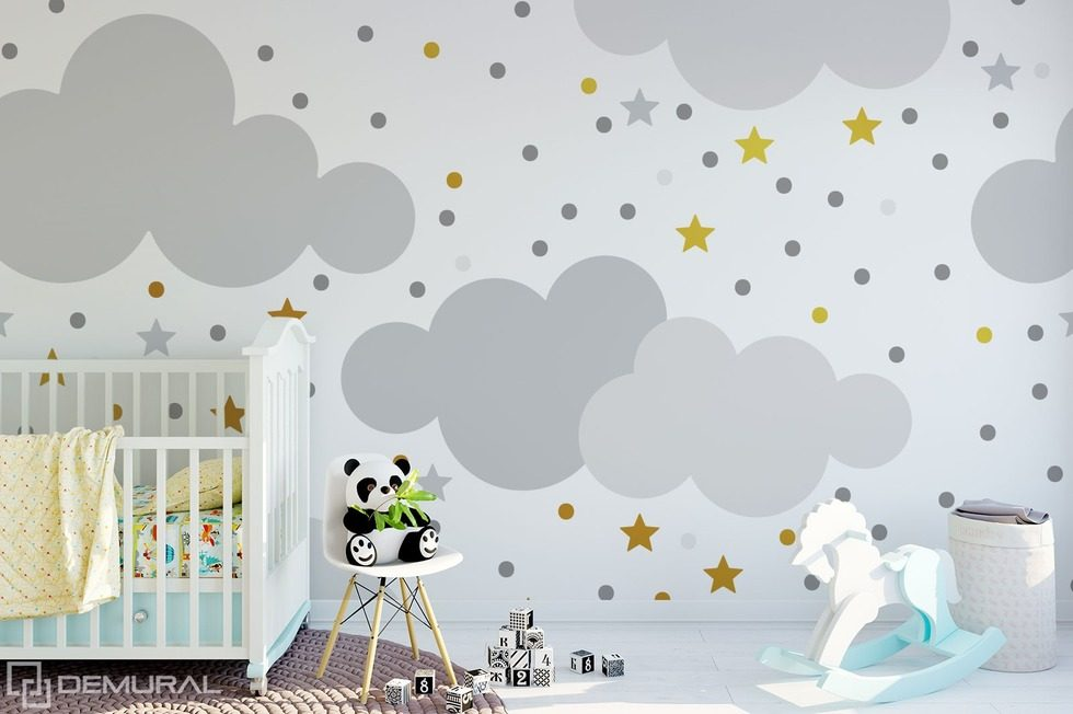 swinging in the childish clouds childs room wallpaper mural photo wallpapers demural