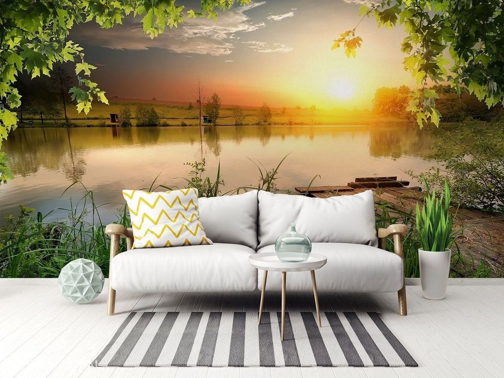relax at the lake landscapes wallpaper mural photo wallpapers demural
