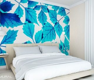 Amazing Little Blue Leaf Bedroom Wallpaper Mural Photo Wallpapers Demural