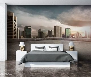 a morning in the city cities wallpaper mural photo wallpapers demural