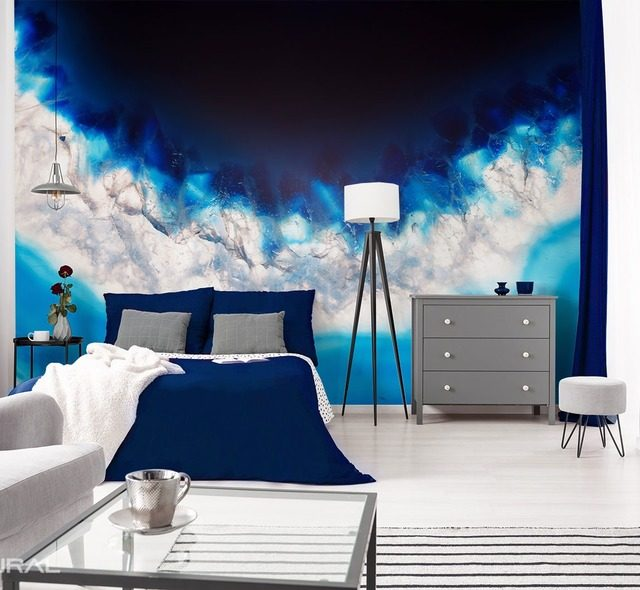 the marriage of white and blue patterns wallpaper mural photo wallpapers demural