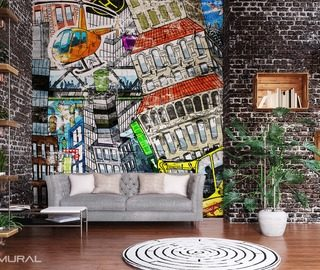 multi color power graffiti wallpaper mural photo wallpapers demural