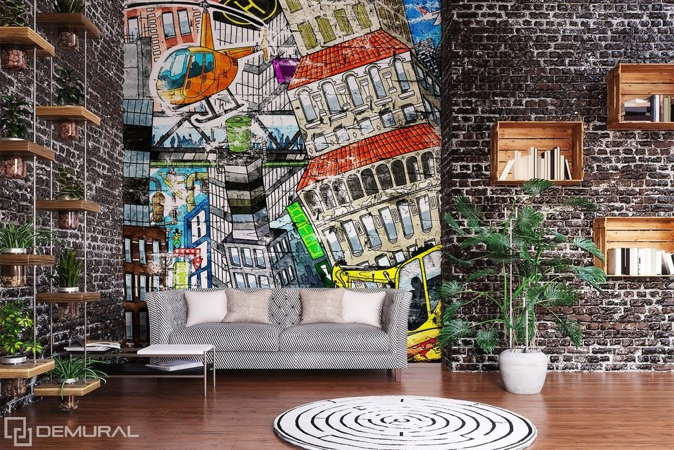 Multi-color power Graffiti wallpaper mural Photo wallpapers Demural