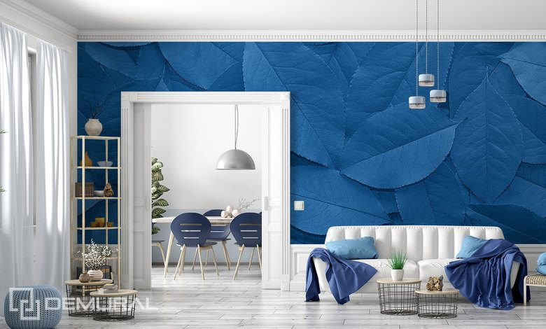 blue leaf variation patterns wallpaper mural photo wallpapers demural