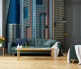 a living room with an urban character cities wallpaper mural photo wallpapers demural