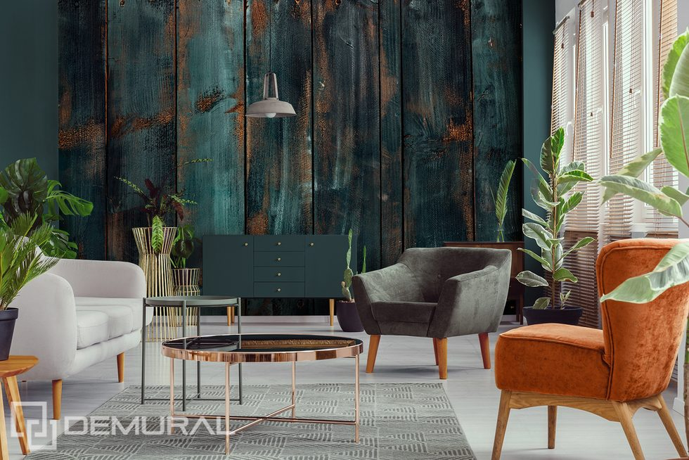 An old board and a fashionable living room - a harmonious duo Patterns wallpaper mural Photo wallpapers Demural