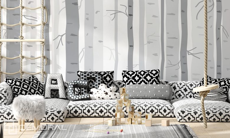 white fog in the grey forest childs room wallpaper mural photo wallpapers demural