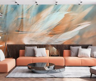 colourful lightness of feathers living room wallpaper mural photo wallpapers demural