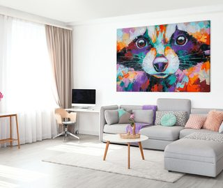 sweet raccoon in artistic setting canvas prints animals canvas prints demural